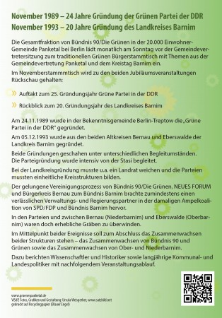 Veranstaltungsflyer zur Jubiläumsveranstaltung Bündnis 90/Die Grünen in Panketal
